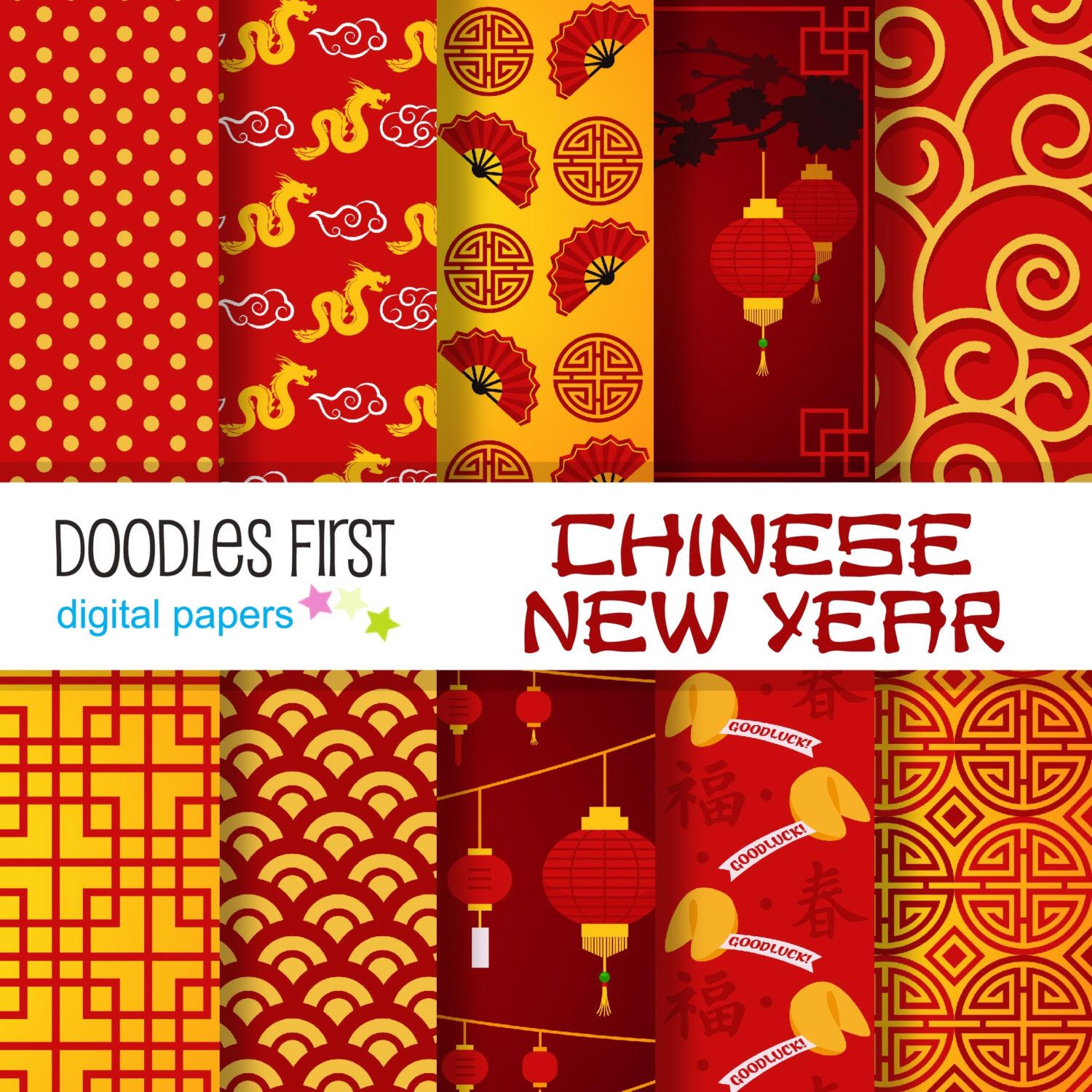 Scrapbook paper etsy - Chinese New Year Digital Paper Pack Includes 10 For Scrapbooking Paper Crafts By Doodlesfirst On Etsy