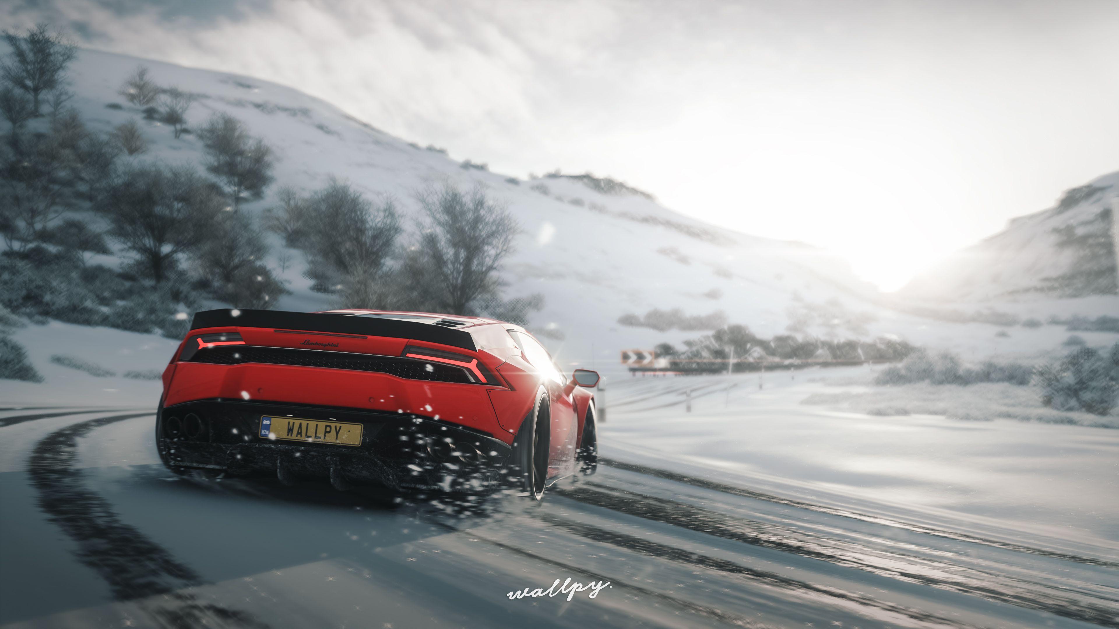 Wallpaper 4k Lamborghini Huracan Drift In Snow Forza Horizon 4 4k