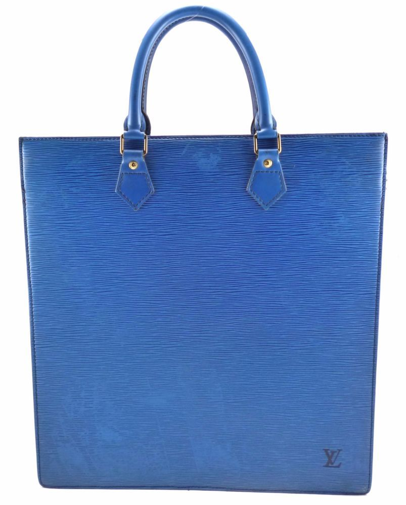 9b0db0a42723 Louis Vuitton Authentic Epi Leather Sac Plat Tote Hand Bag Blue MI0991