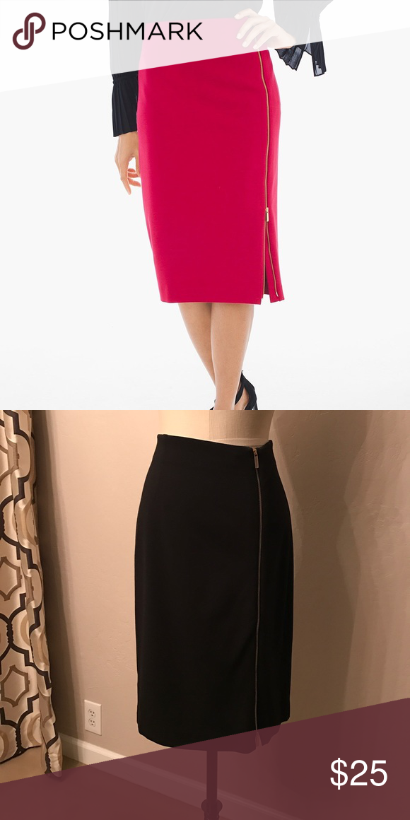 ab11384a87 Side zip Ponte skirt Brand new without tags. Soft , comfortable, washable  fabric. Black color . Chico's Skirts Midi