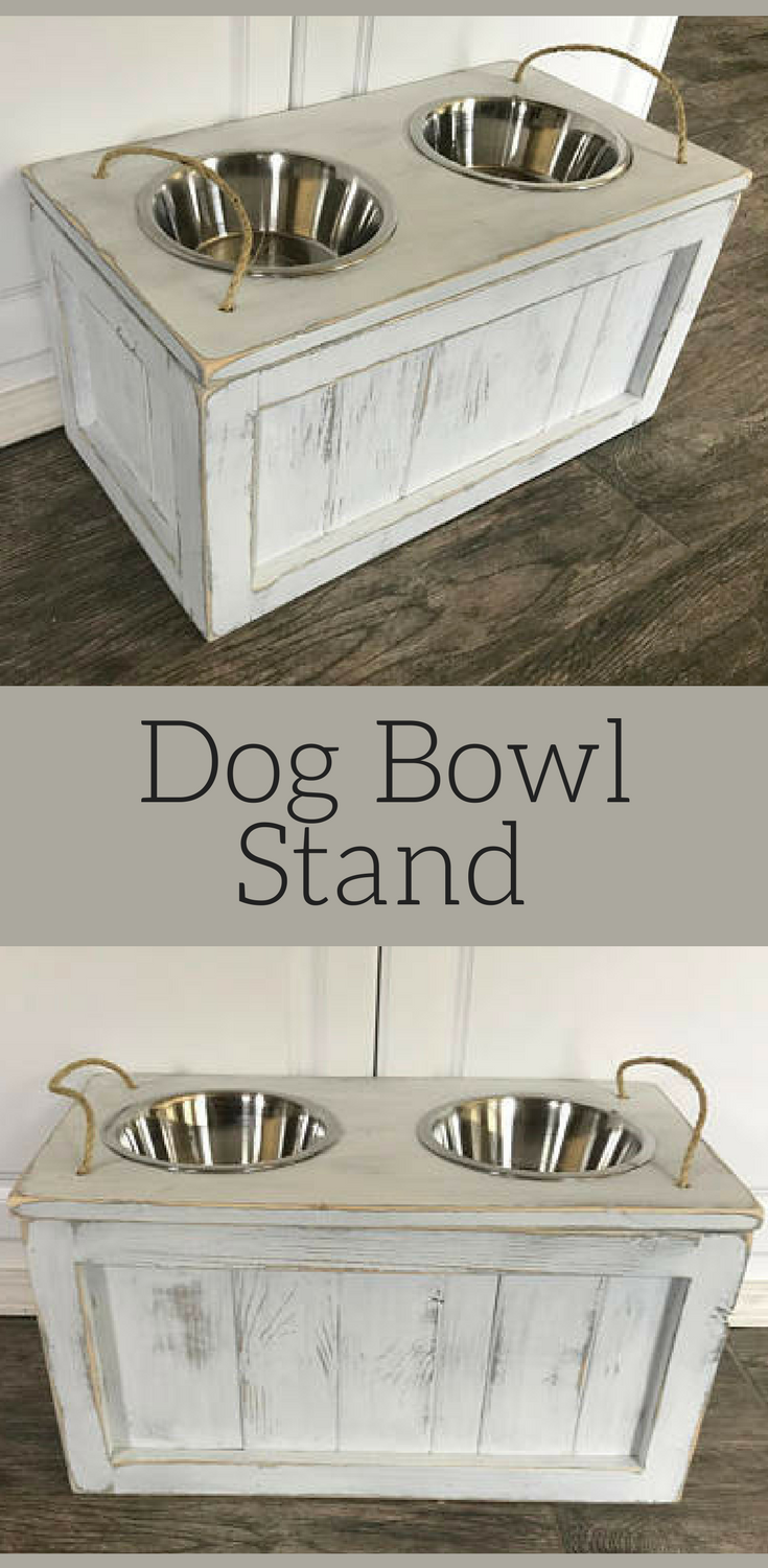 Rustic Dog Bowl Stand With Storage Underneath The Bowls Raised
