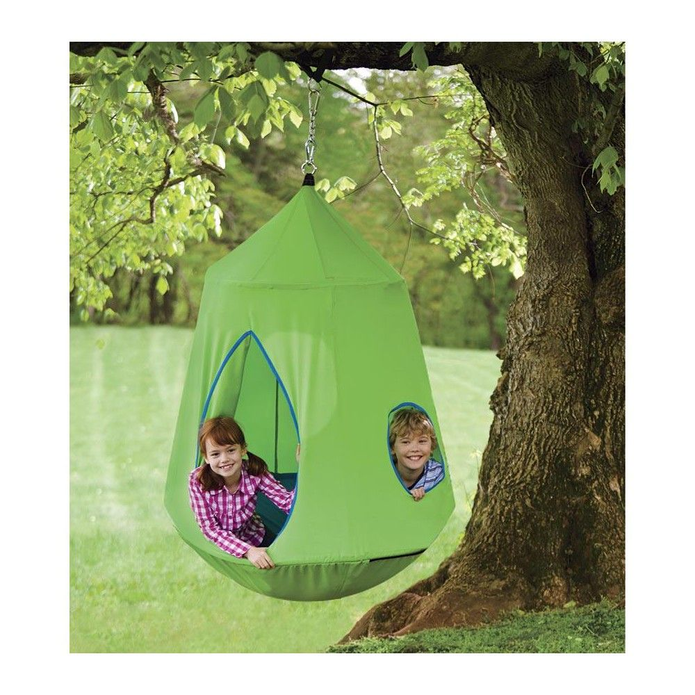 Hugglepod Hangout Heavy Duty Hanging Chair For Kids Outdoor Play Green Hearthsong Kids Outdoor Play Outdoor Kids Kids Chairs