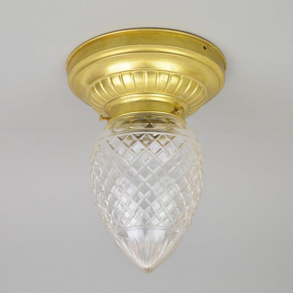 Zapfen Tropfen Decken Lampe Tropfenform Leuchte Messing Jugendstil 1900 1930