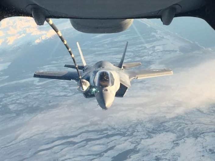 NORTH PACIFIC OCEAN – An F-35B from Marine Fighter Attack Squadron (VMFA) 121, 3rd Marine Aircraft Wing, refuels in flight while transiting the Pacific from Marine Corps Air Station Yuma, Ariz., to Joint Base Elmendorf-Richardson, Alaska, Jan. 9, 2017, with its final destination of Iwakuni, Japan. VMFA-121 is the first operational F-35B squadron assigned to the Fleet Marine Force, with its relocation to 1st Marine Aircraft Wing at Iwakuni
