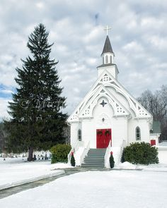 Winter Country Church Connecticut 8x10 Photograph Print