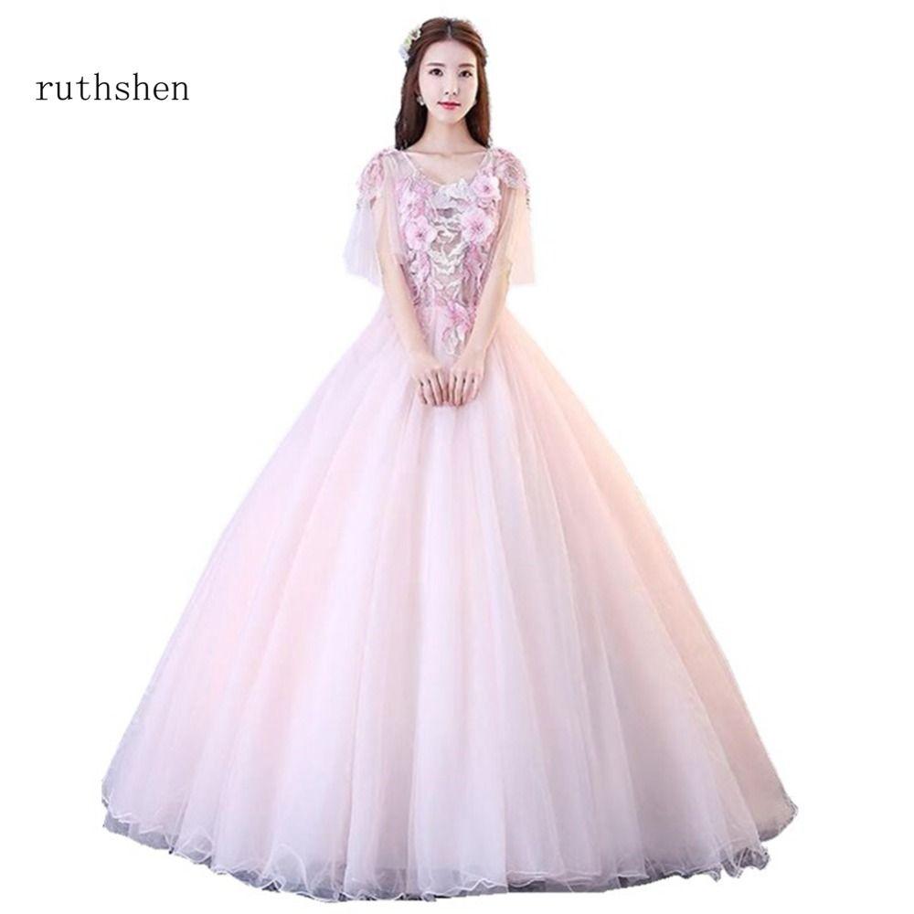 cee58dd64e1 Розовое Пышное Платье 2019 Одежда с рукавом Пышное Бальное платье кружева с  цветами. Платье для
