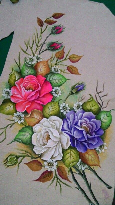 Manualidadesdecoracion Pintura En Tela Flores Manteles