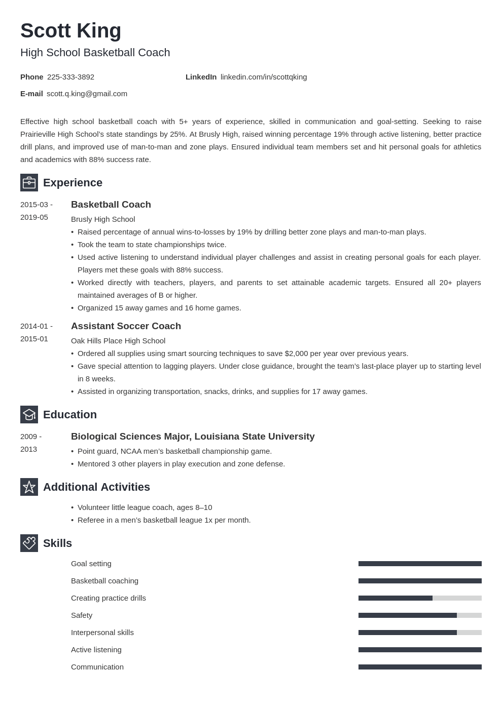 coaching resume example template newcast in 2020 Job