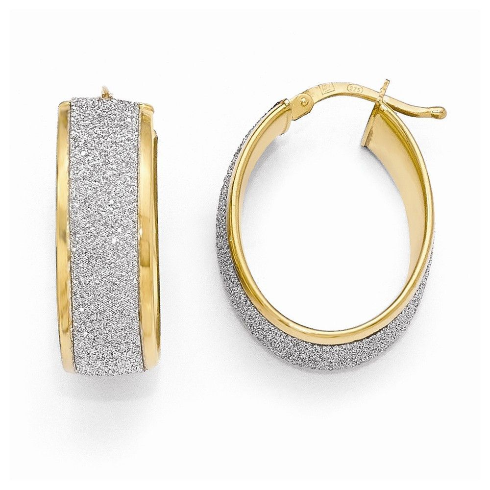 Leslie's Sterling Silver Gold-plated Glimmer Infused Hoop Earrings