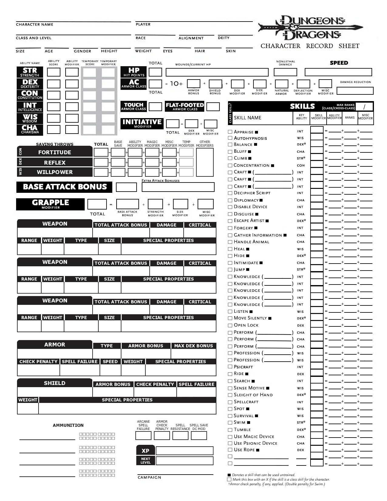 photo relating to 3.5e Character Sheet Printable titled This is a personalized temperament sheet I created for 3.5e of dd