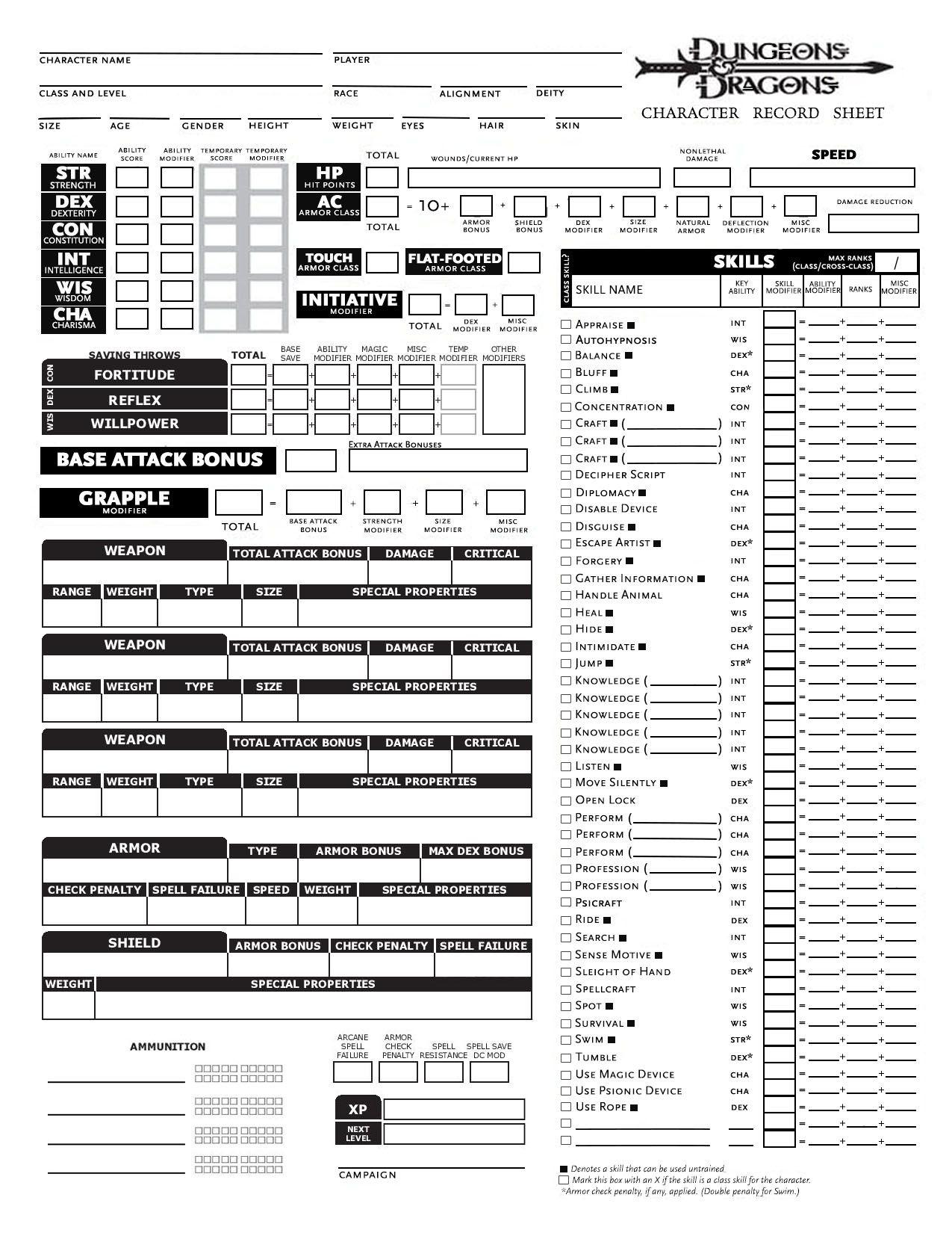 DnD 5E Character Sheet Fillable, Editable PDF Download ...