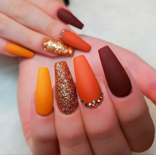 39 Trendy Fall Nails Art Designs Ideas To Look Autumnal And Charming Autumn Nail Art Ideas Fall Nail Art Fall Ar Gold Nails Casket Nails Solid Color Nails