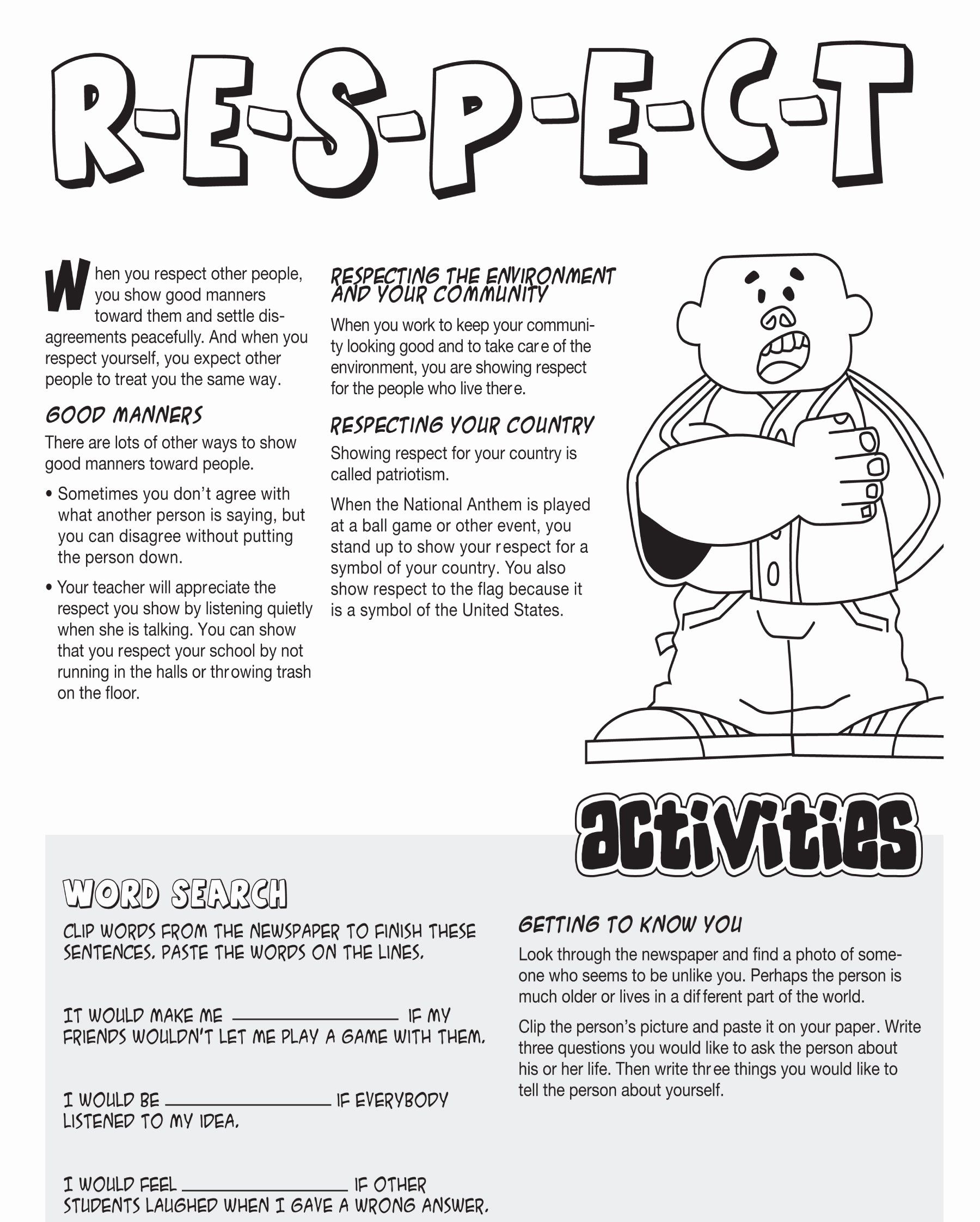 Respecting Others Property Worksheet New Moral And Values