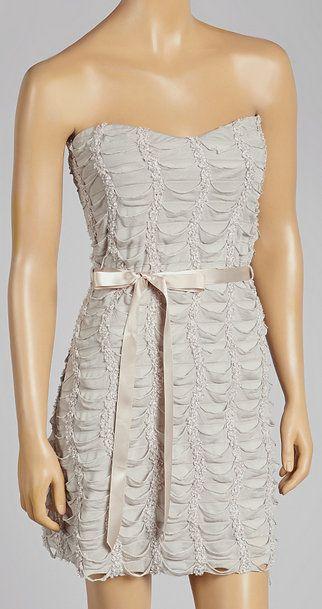 Beige Ruffle Bow Strapless Dress