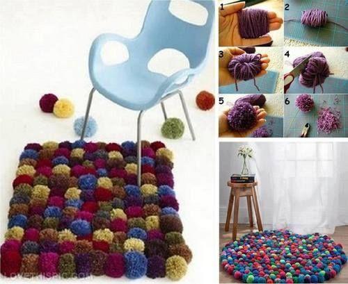 DIY Wool Pom Carpet Decor Decoration Creative Diy Craft Ideas Crafts Do It Yourself Easy Fun Home