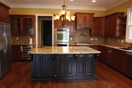 Pin By Jan Olson On For The Home Black Kitchen Island Cherry Cabinets Kitchen Kitchen Island Design