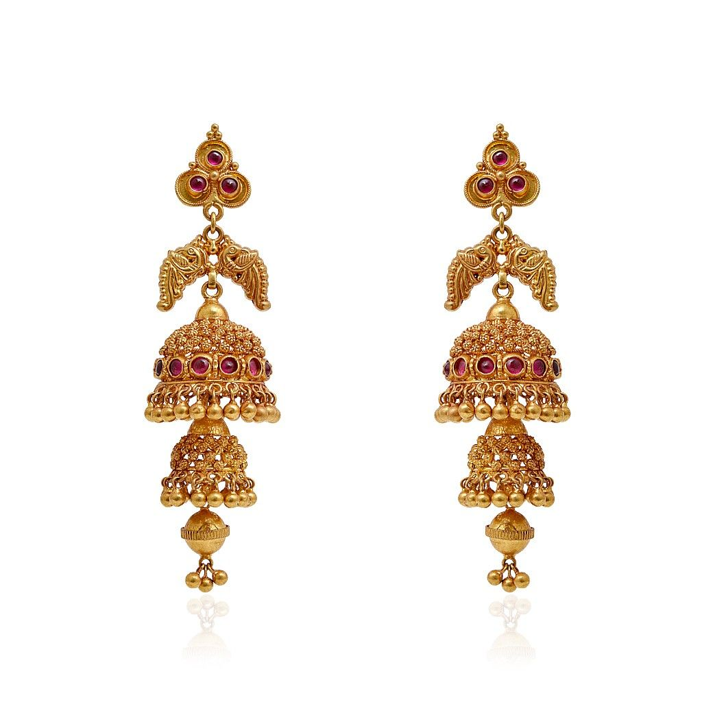 jhumki-Earrings | Ruby Stone Studded Antique Jimmiki | GRT ...