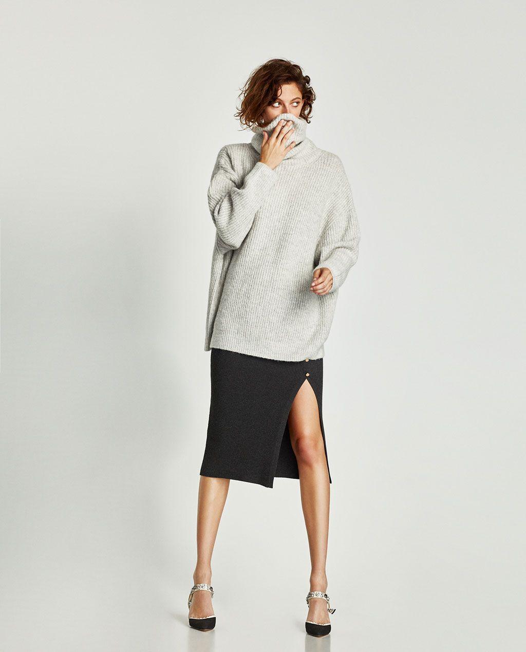 Oversized Trui.Oversized Trui Met Omslagkraag Alles Bekijken Tricot Dames Zara