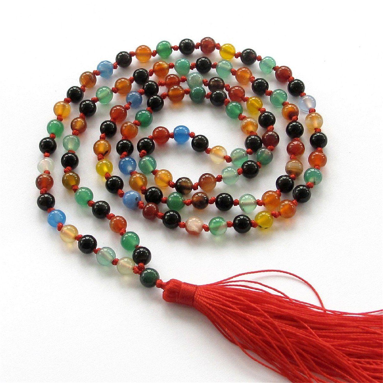 Ovalbuy Bracelet Métal 6 mm en Agate colorée chapelet bouddhiste tibétain 108 perles de prière Mala: Amazon.fr: Bijoux