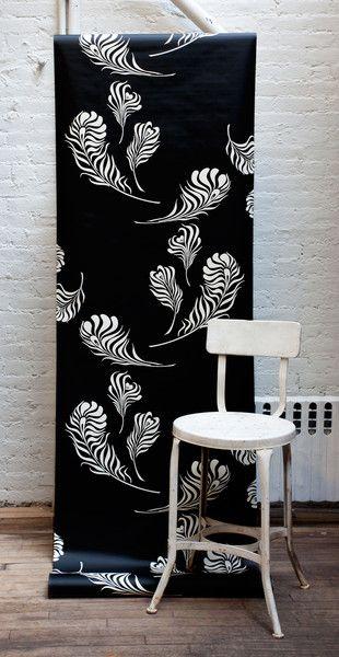 Michele Varian Shop - Plume Wallpaper Black Off White
