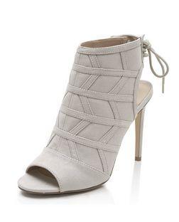 Grey Zig Zag Seam Panel Tie Back Peeptoe Heels  | New Look