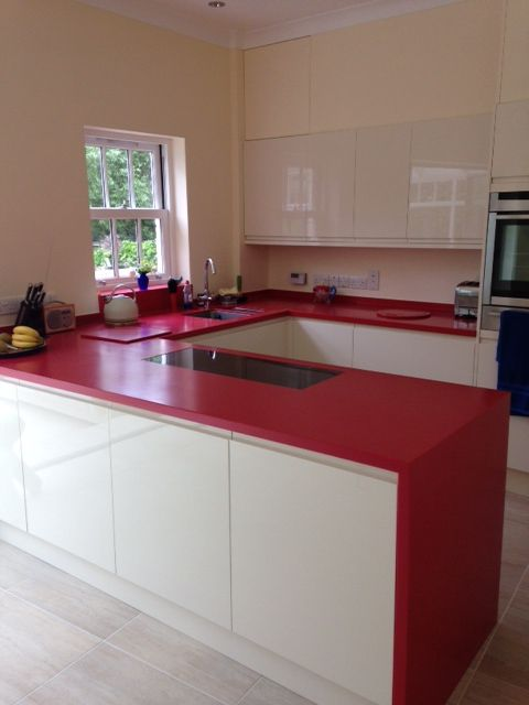 royal red corian worktops designed by buildbase oxford fabricated by counter production ltd www - Corian Arbeitsplatten Lowes