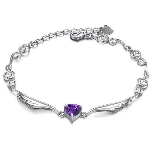 Flight Woman Silver Angel Wings Heart-Shaped Bracelet dt59cYYhy