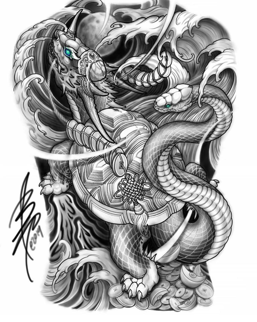 "Bayarea tattoo, 9dragonsink on Instagram ""Black Tortoise"