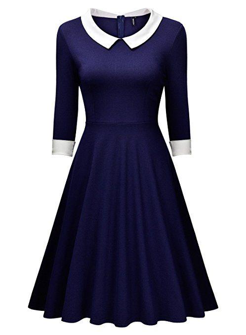 Miusol® Damen Knielang 1/2 Arm Rundhals Vintage Kleid ...