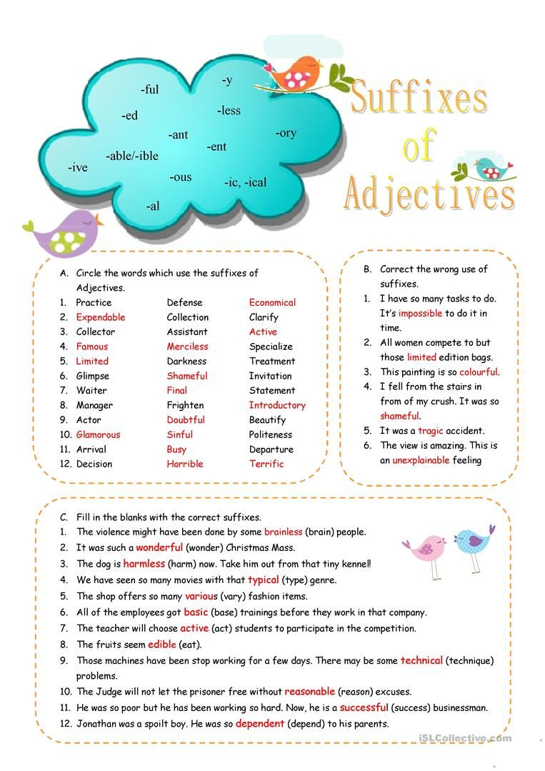 Suffixes Of Adjectives Worksheet Free Esl Printable Worksheets Made By Teachers Adjectives Suffixes Worksheets English Grammar Worksheets [ 1079 x 763 Pixel ]