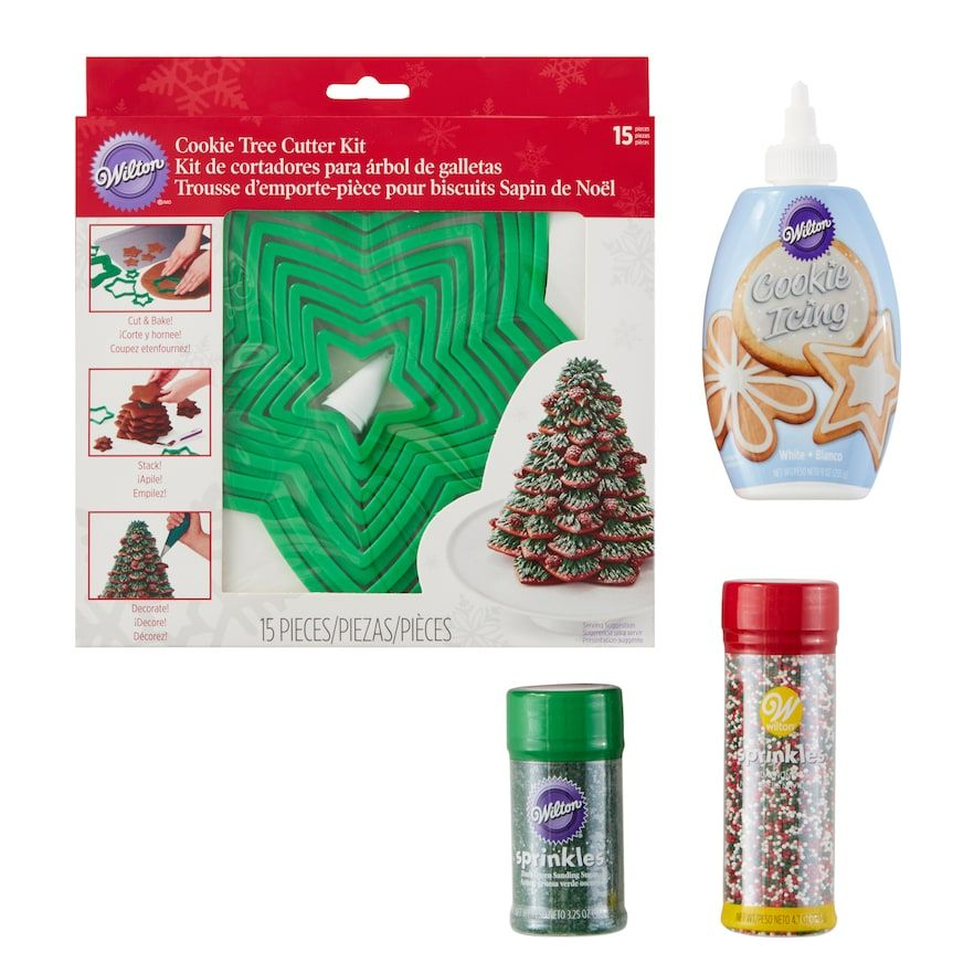 Wilton Holiday Tree Cookie Cutter  Decorations Kit 18-piece Set in