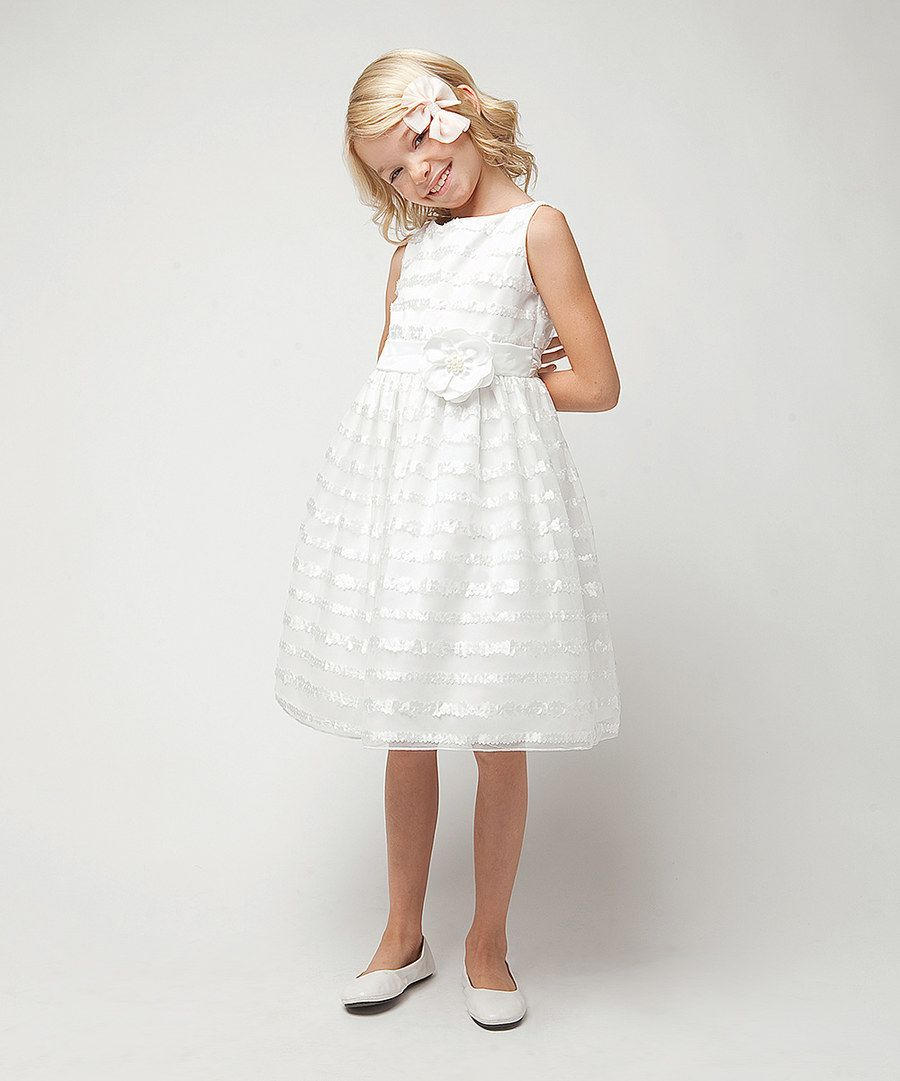 Look at this Sweet Kids White Stripe Rosette A-Line Dress - Infant on #zulily today!