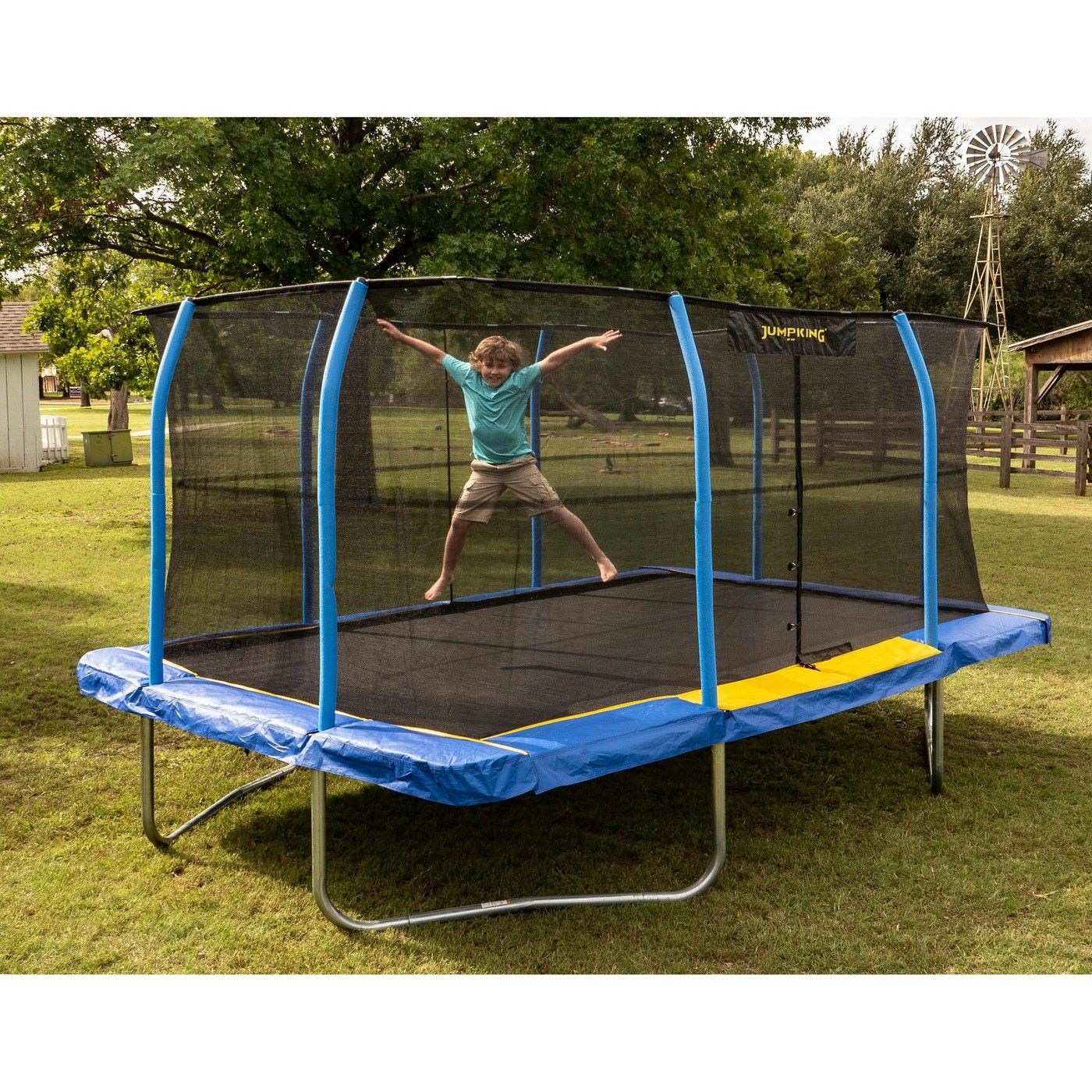 Jumpking 12 X 17 Foot Large Rectangular Trampoline With Safety Net