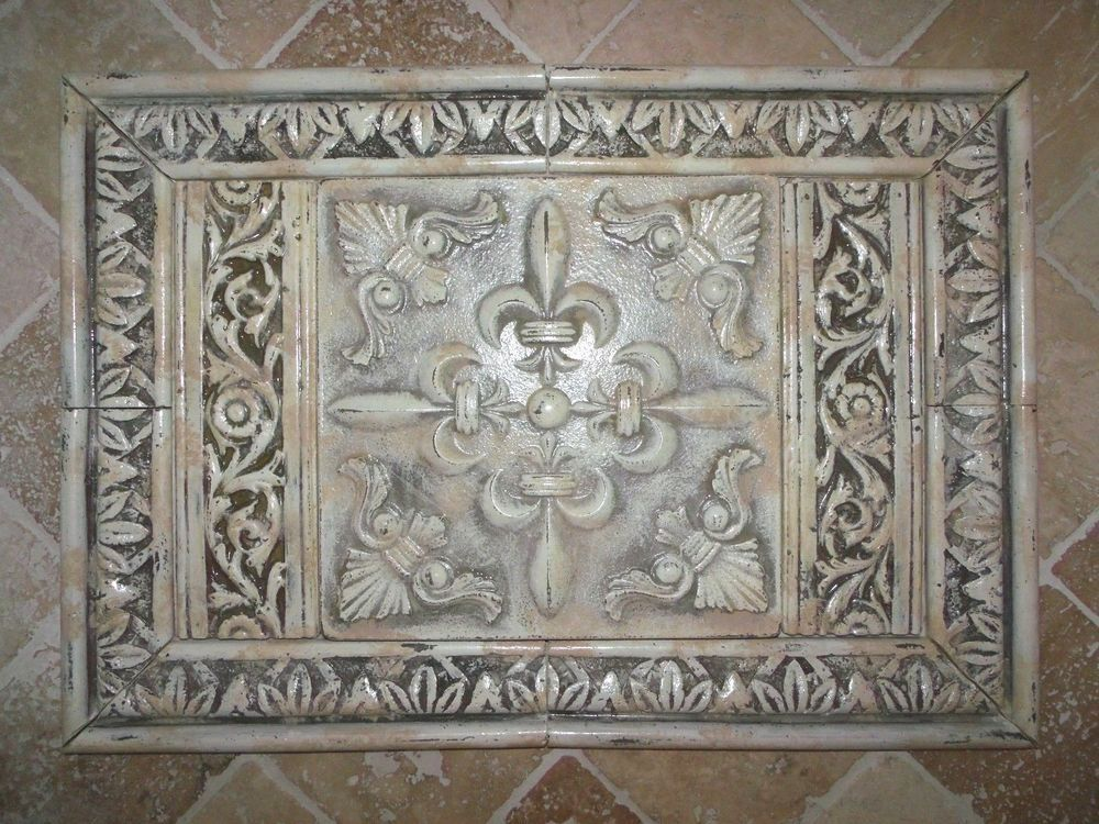 French Country Fleur De Lis Medallion Cast Stone Backsplash Tiles Set