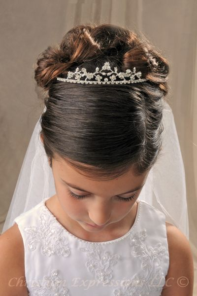 Prime Communion Updos Hair Style First Communion Hairstyles With Tiara Hairstyles For Women Draintrainus