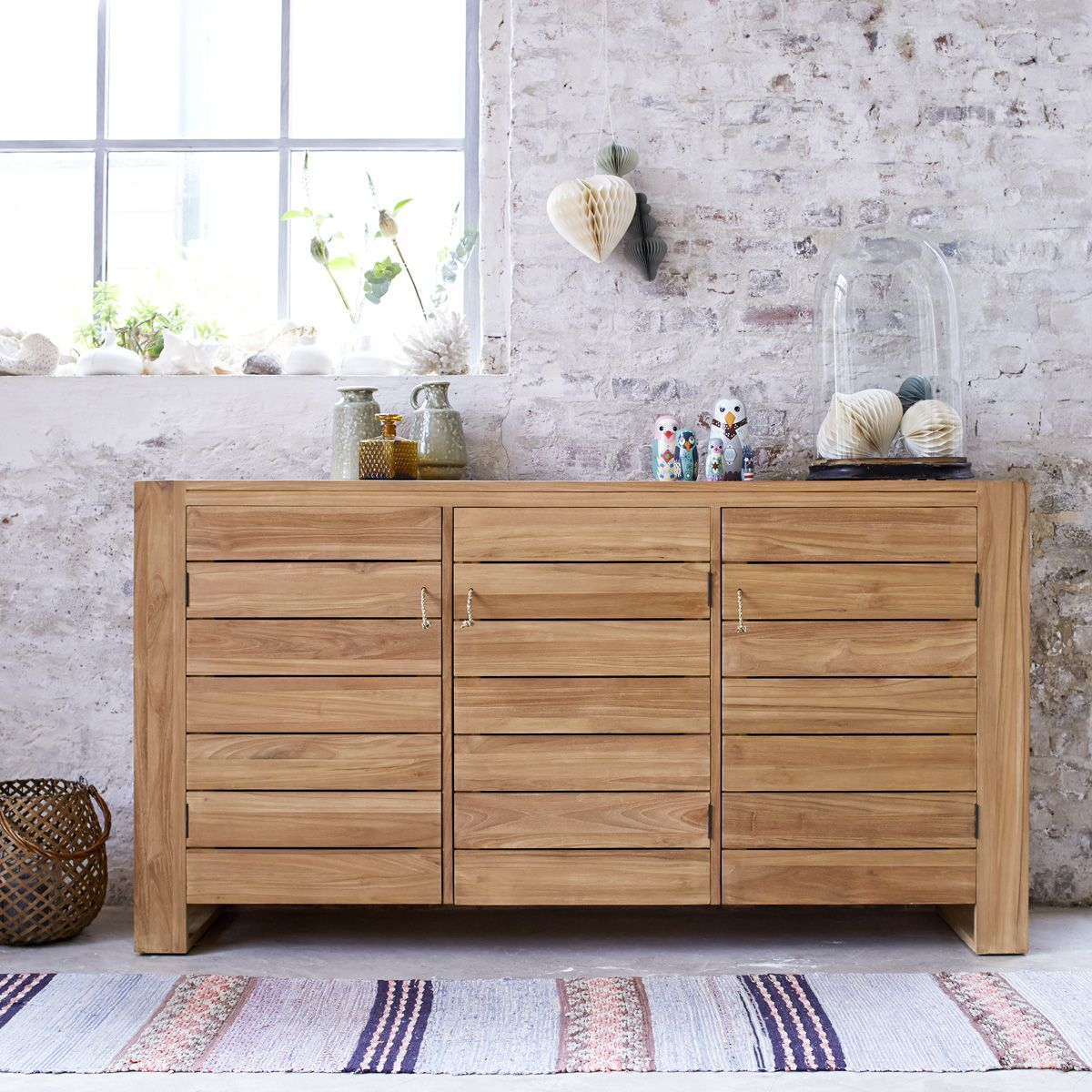 Teak Horizontal Paneled Buffet with Four Doors 79w30 5h