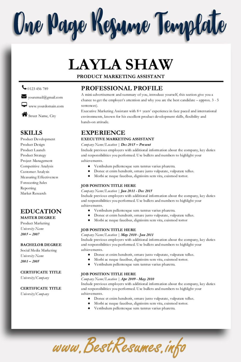 professional resume template layla shaw  business resume