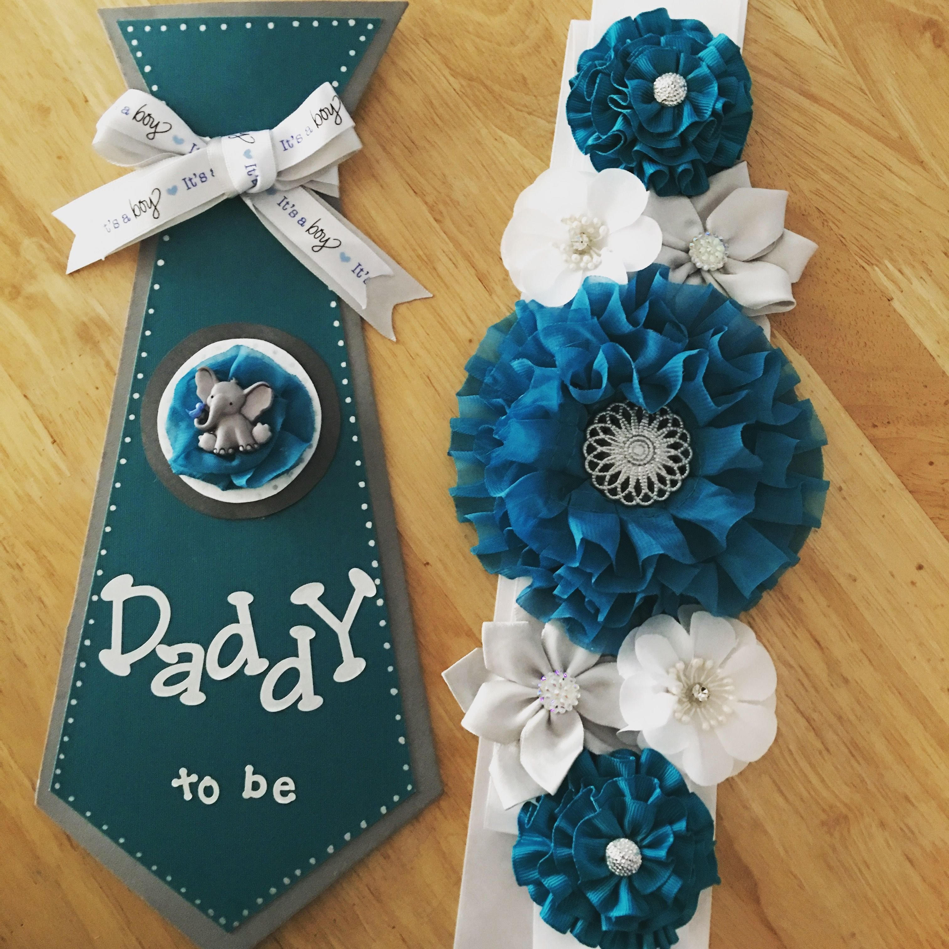 Baby shower tie and maternity sash | Baby shower ...