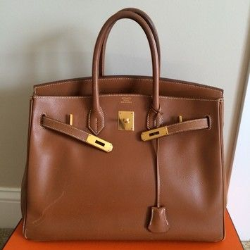 52c375e7aaeb Hermes Vintage Birkin 35 Courchevel Brown Gold Tote Bag. Get one of the  hottest styles of the season! The Hermes Vintage Birkin 35 Courchevel  Brown Gold ...