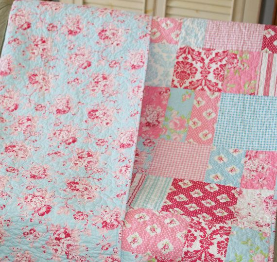 Quilt Throw Shabby Decor Floral Aqua Blue Pink White Red