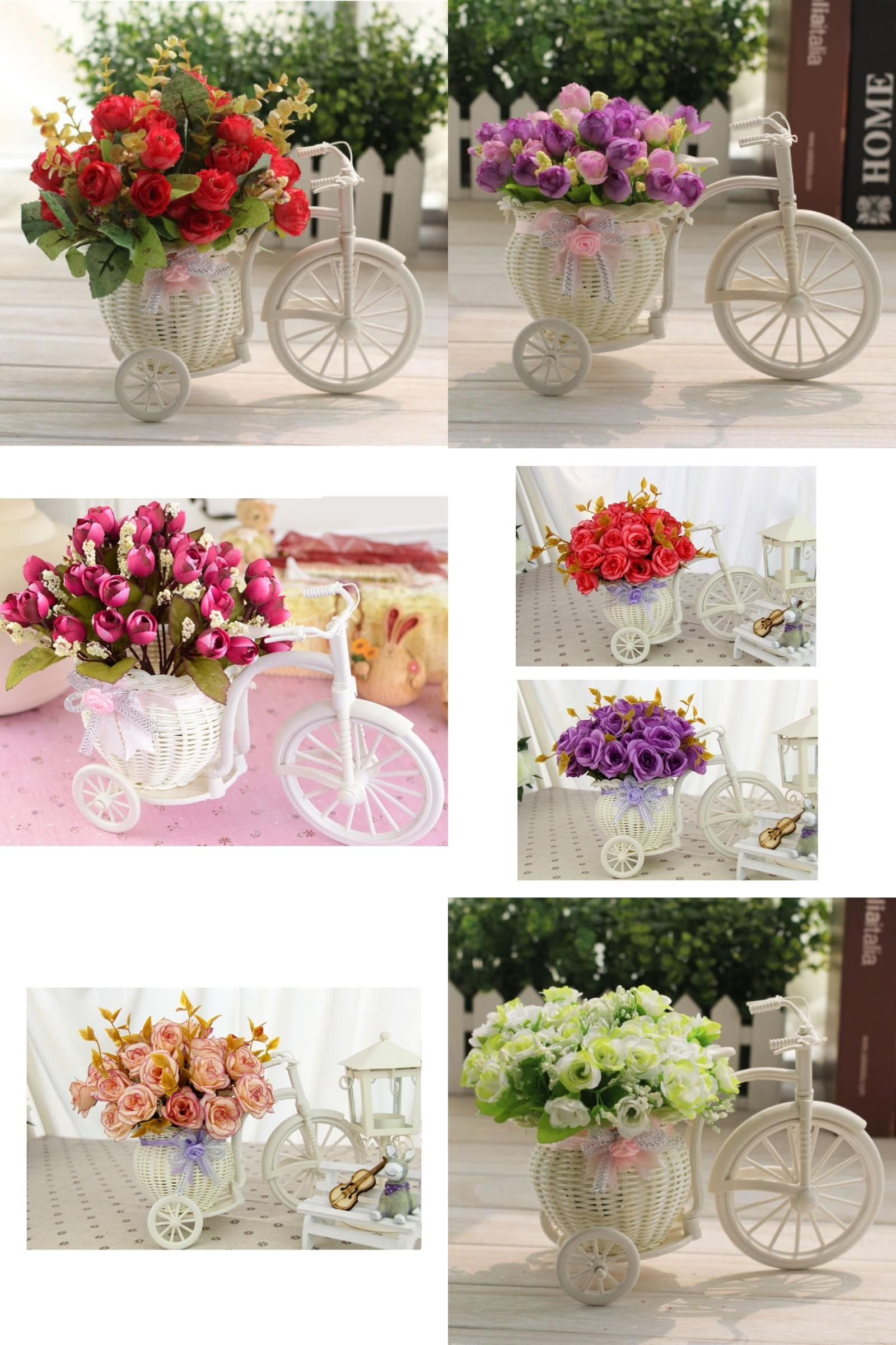 Wedding decorations white  Visit to Buy DIY Plastic White Tricycle Bike Design Flower Basket