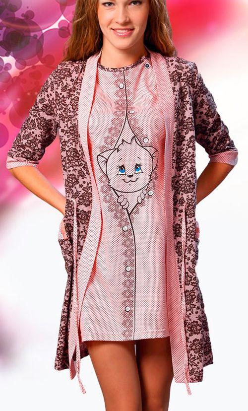049f9a0498d3 Комплект (халат+сорочка) для беременных и кормящих мам 8 ...