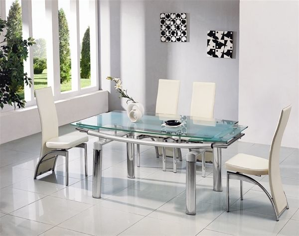 Modern Glass Extendable Dining Table Glass Dining Room Table