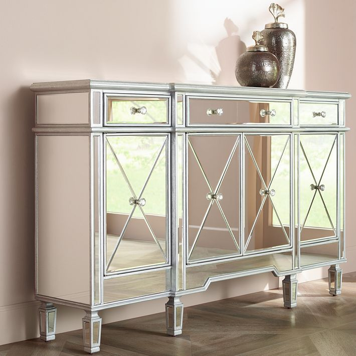 Best Cablanca 4 Door 3 Drawer Silver Accent Cabinet With 400 x 300
