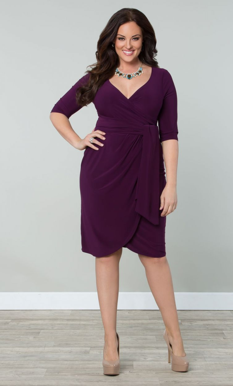 Harlow Faux Wrap Dressy Cocktail Dress, Eggplant (Womens Plus Size ...