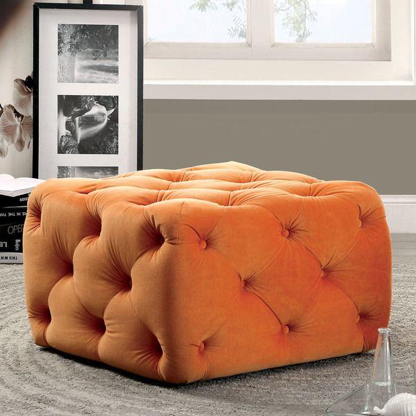 Furniture of America Percie Contemporary Tufted Flannelette Square ...