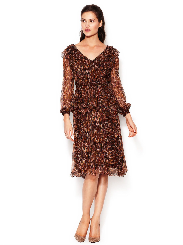 Silk Printed Ruffle Tie Dress  Tie #Dress #Gowns #Sunglasses #FragranceWomen #Dresses