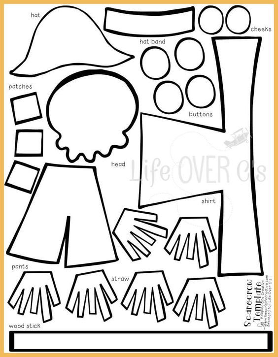photo relating to Scarecrow Template Printable identify Lower and Paste Scarecrow Craft for Drop Pre K Scarecrow