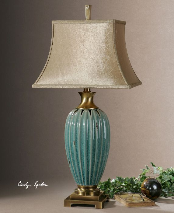 Uttermost angelica blue crackle ceramic lamp by carolyn kinder