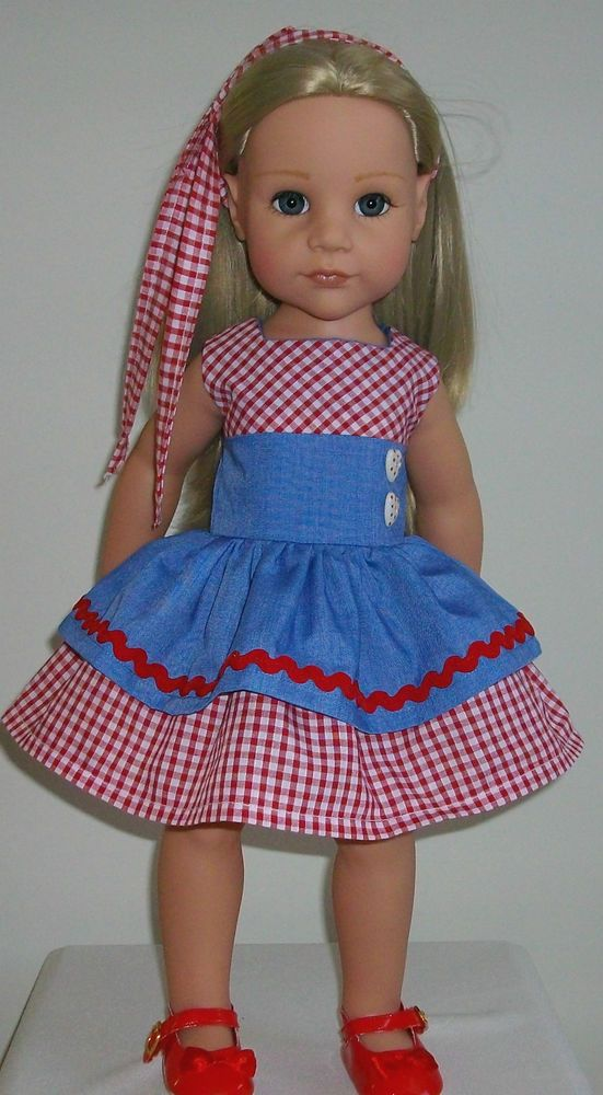 red gingham dress & hair tie fits 18-20\